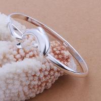 New Sliver Plated Fashion Womens Elegant Simple Single Line Dolphin Bangle Bracelet Jewelry Ladies Accessories LKNSPCB1478