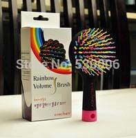Hot  Rainbow Color Magic Hair Comb Paddle Hair Brush Salon Comb Hairbrush Anti Tangle Hair Massage Healthy Brush with Mirror
