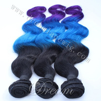 3PCS Blue Purple Ombre Human Hair Weaves Extensions Body Wave Brazilian Virgin Remy Human Hair Bundles For Black Women
