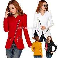 2014 Women Blazer Casual Suits OL Blazers Ladies Zip up Jackets Fashion Outerwear Slim Cardigan Za Leisure Blaser