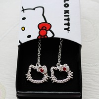 Fashion Vintage Hello Kitty Earrings KT Stub Earrings for Women Cute Cat Earrings Christmas Gift for Girls  24pieces=12pairs