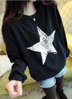 2014  Autumn Casual Sweatshirt Star Print long sleeved Hoodies harajuku cartoon sweatshirts CL142 free shipping