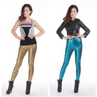 2014 New Fashion Gold Blue fish scales high waist Slim leather pants women leggings Lederhosen Tenths Pants Free Shipping
