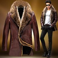 Men's winter long section of male sheep fur crocodile leather men's leather jacket fur coat