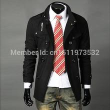 2014 Men Slim Designed Jacket Hot Stylish Woolen Jacket Double Pea Trench Coat black dropshipping 3300(China (Mainland))