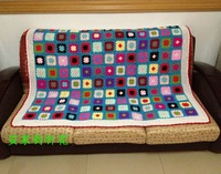 Free shipping knitted blanket for sofa  throw towel  winter cover for home decor colorful cover with flowers handmade craft