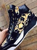 Newest 2014 Men Versae Shoes Black Yellow Baroque Pattern high-top Trainers Genuine Leather Medusa Men's side zipper Sneakers