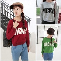 New 2015  Women 3 Colors Letter Printed Hoodies Full Sleeve Short Design  Loose Sweatshirts Pullovers Tops Free Shipping 949