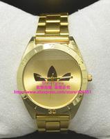 Free shipping wholesale sale . Fashion Women girls students Men boys Golden steel belt Quartz gift AD 3 leaf grass watches J808