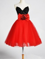 Sexy Fashion Real Sample V-neck Butterfly Bow Rose Petals Organza Above Knee Length Cocktail Dresses Prom 2014