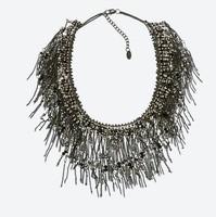 2014 New Arrival za Fashion Brand Big Statement Tassel Choker Collar Necklace For Women Luxury Mental Necklace
