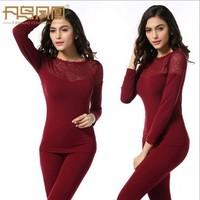 New 2014 Women Winter Thermal Underwear Set Sex Lingerie Lace Bodysuit Women's Warm Underwear Black Red Free Shipping