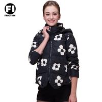 Fancyinn 2014 Original Design Fashion Ladies Short Winter Flower Print  Down Jackets Slim Stand Collar Hooded Coat Jacket