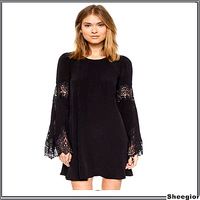 2014 Fashion Sexy Black lace Mini dress Flare sleeve winter autumn dress Vintage women dress clothing