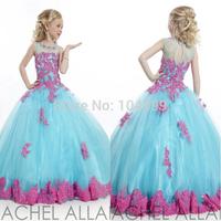 2015 2014 Little Girl's Pageant Dresses Blue Grew Neck Tulle Beaded Crystal Top Princess Flower Girl Dresses Custom Made