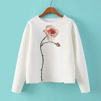 Brand Design 2014 Fashion Womens White Color Rose Floral Print Air cotton Sweatshirt Sweatshirts Jumper Hoodie