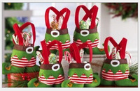 Free shipping Christmas gift bag,   Santa Gift Elf  shape Bags For Candy, 1 lot=10pcs X-mas gift