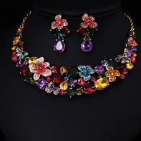 Hot Sale Women Crystal Zirconia Bridal Jewelry Set African Wedding Jewelry Set Big Necklace Earrings