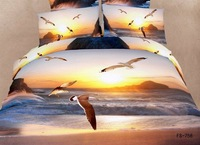 New Beautiful 100% Cotton 4pc Doona Duvet QUILT Cover Set bedding set Full / Queen / King size 4pcs animal blue seagull