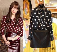 Free shipping 2014 autumn new women clothing set,skirt suit,women fashion PU collar heart print blouse and PU skirt