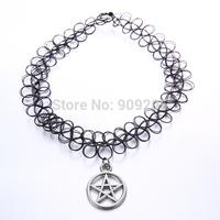 2014 New Arrival Handmade Punk Stretch Pentagram Tattoo Choker Necklace HH1A0987 2pcs/lot