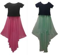 2015 Summer women contrast color patchwork irregular dress, plus size cute and sexy dress,short sleeve chiffon dress