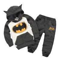 ST082 Free Shipping 2014 New Autumn Batman Kids Tracksuit Boys Top Quality Clothing Sets Toddlers Suits Hood Coat + pants Retail