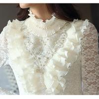 elegant casual Fashion women 2014 winter blouses shirts sexy lace Flounced women's blouse & Ladies tops bottoming shirt