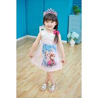 2014 new arrived summer elegant sleeveless Frozen dress/Elsa&Anna print girls lace dress/Beautiful girl dress