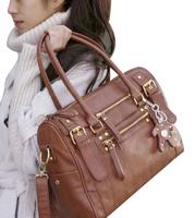 Vintage women handbags 2014 New Casual women bag PU Leather Messenger Handbag Shoulder Bag Brown/Black+Bear pendant Z5