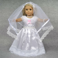 "Doll Clothes Wedding Dress  Fits 18"" American Girl Doll, Veil + Dress + Pantalets + Necklace + Bracelet + Hairpins, 6pcs, D05"
