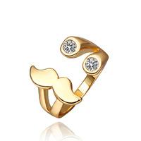 Fashion Rose Gold/ Gold Plated Elegant Classic Cute Mustache Rhinestone Crystal Ring Jewelry Size 8 LKN18KRGPR363