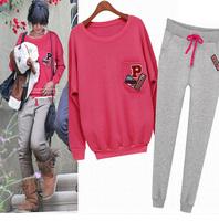 2014 new pink P -letter sport sweater spring autumn winter high quality women's sweatshirt hoodie sportswear 2pcs / set DF-088