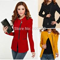 2014 New Design women's long-sleeve short jacket zipper jackets female coat woman's clothing free shipping