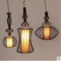 New nordic classical wrought iron birdcage pendant light vintage bedroom lights