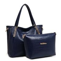 2015 New Women Handbag Genuine Leather Bag Alligator Bolsas Shoulder Bag Two-piece Women Messenger Bags Vogue Tote Crossbody Bag