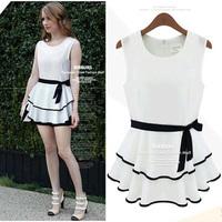 New Summer Women Fashion Chiffon Dress O-neck Sleeveless A-Line Mini Vestido White Casual With Belt Sexy Party Dresses #1049