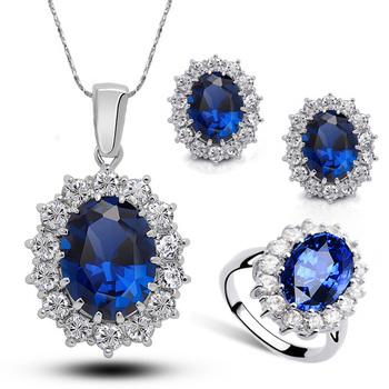 18 К позолоченные горный хрусталь кристалл уильям кейт королева сапфир люкс свадебное ...