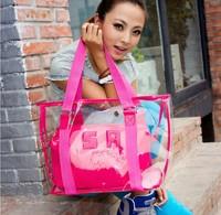 Women bag 2014 new Korean transparent beach bag wholesale handbags shoulder bag cool picture perspective