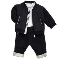 Spring autumn winter casual handsome baby boy set black jacket+cotton T shirt + fashion pants 3 pcs children track suit clothes