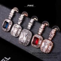 ZSE004  Wholesale 2014 New Designer AAA Cubic Zirconia Blue Red Stud Earrings For Women Fashion Jewelry  bijoux POXE