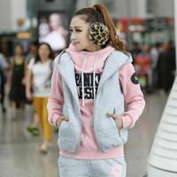 2014 Winter Women's Sport Suit Women Leisure Sports Hoodie Set Three-piece Female Sports Sweatshirt Suit Sportswear Costume