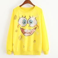 New 2015 Autumn and spring Casual Hoodies Sweatshirts sport suit  women sudaderas Spongebob expressions printed women hoody