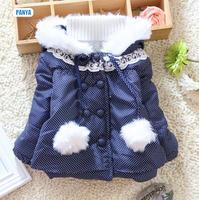 4pc/lot girls coat fur 2014 winter kids outerwear dot hoodies thicken children clothing wholesale PANYA DYF132