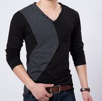 2014 new men long sleeve T-shirt male v-neck loose plus-size5XL,4XL t-shirts men,free shipping