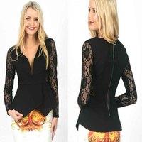 2014 new fashion long sleeve black lace  top women casual women autumn shirt free shipping