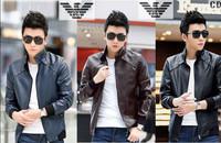 XXXL High Quality New Arrive 2014 Free Shipping Fashion Men Slim Leather Jacket Men Brand Suede Coat Autumn Outerwear