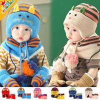 2014 winter bomber hats scarf set cap baby girl boys cartoon cat shape warm children accessories knitting bonnet cap scarfs