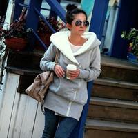 Hot Sale Women's medium-long cardigan berber fleece with a hood sweatshirt