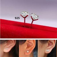 Fashion Jewelry CZ Zircon 925 Sterling Silver 5mm/ 6mm/ 7mm Stud Earrings for Women